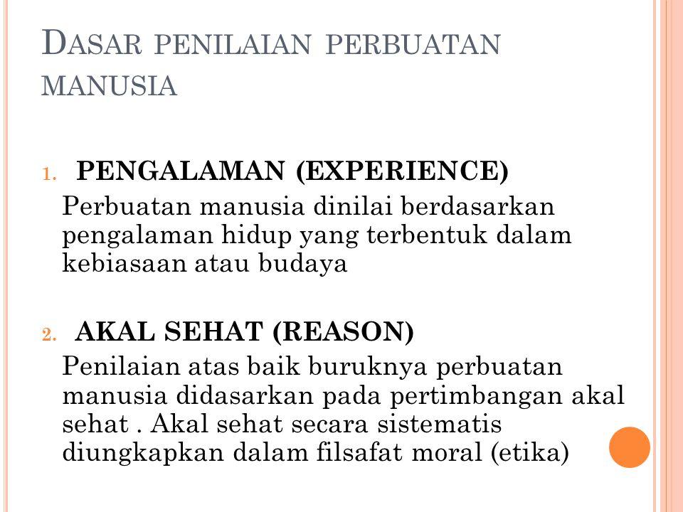 D ASAR PENILAIAN PERBUATAN MANUSIA 1. PENGALAMAN (EXPERIENCE) Perbuatan manusia dinilai berdasarkan pengalaman hidup yang terbentuk dalam kebiasaan at
