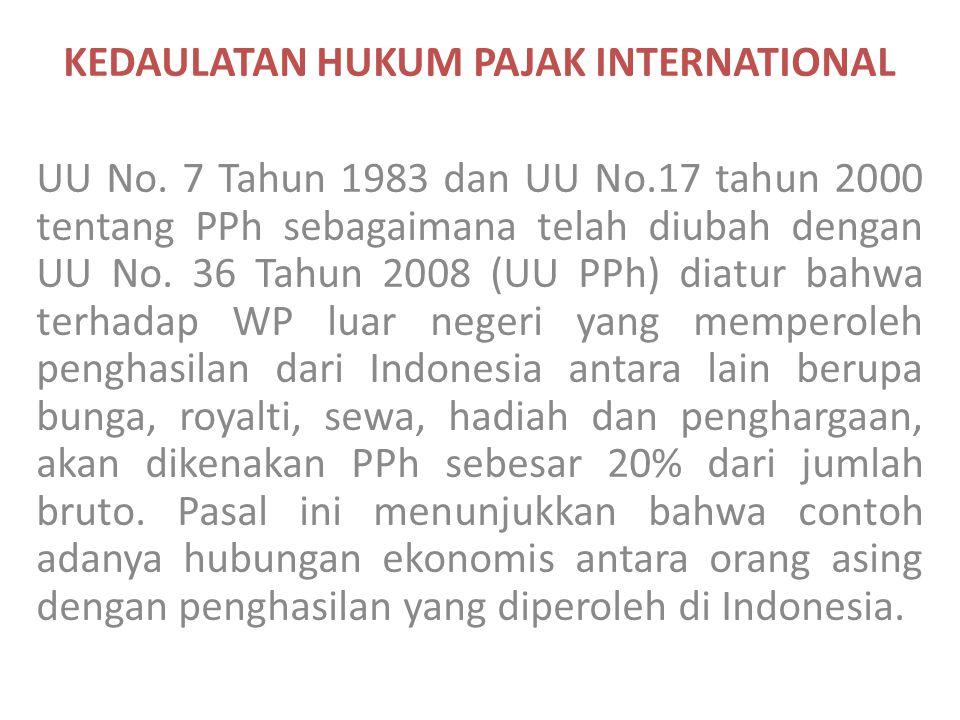 KEDAULATAN HUKUM PAJAK INTERNATIONAL UU No. 7 Tahun 1983 dan UU No.17 tahun 2000 tentang PPh sebagaimana telah diubah dengan UU No. 36 Tahun 2008 (UU