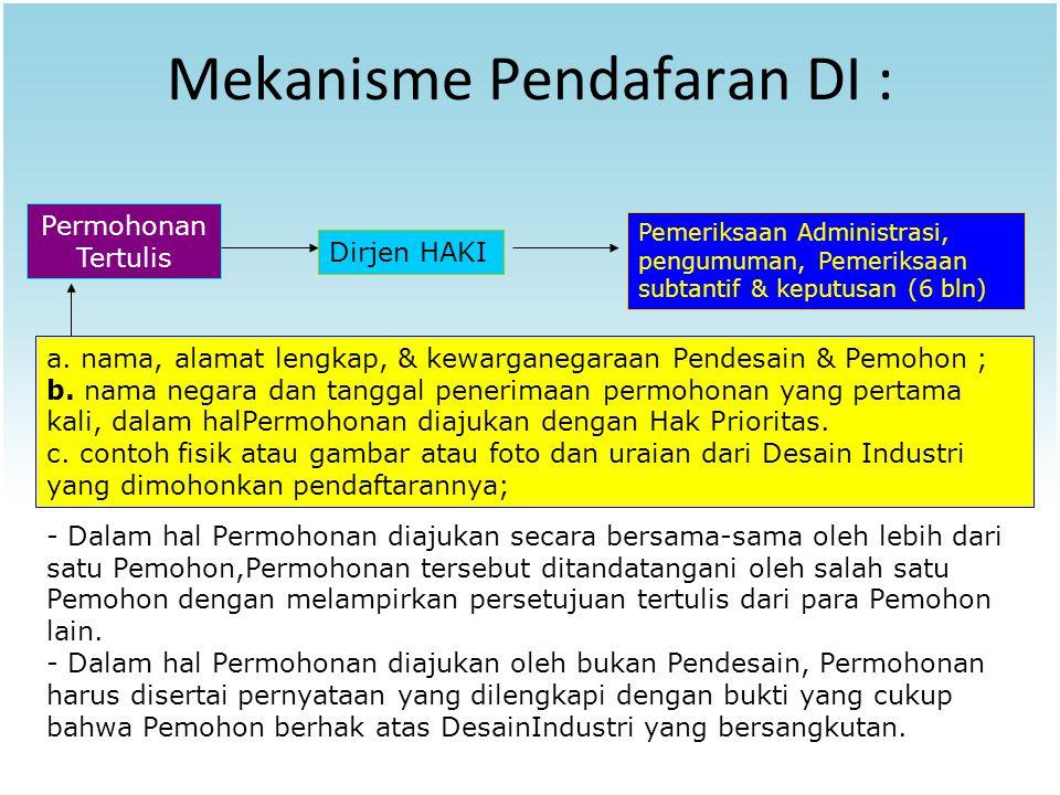 Mekanisme Pendafaran DI : Permohonan Tertulis Dirjen HAKI a. nama, alamat lengkap, & kewarganegaraan Pendesain & Pemohon ; b. nama negara dan tanggal