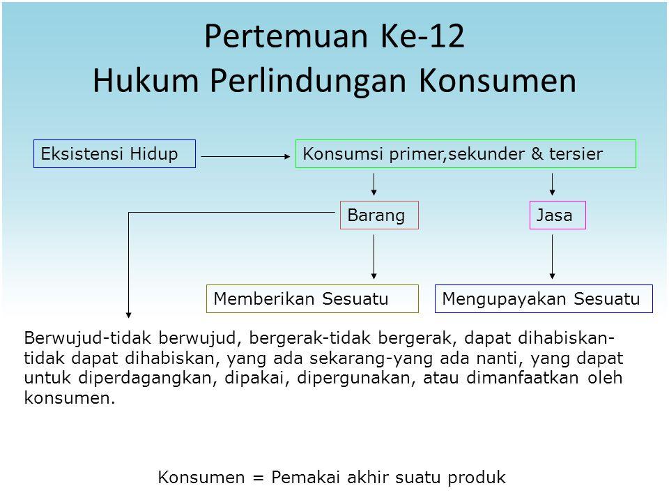 Pertemuan Ke-12 Hukum Perlindungan Konsumen Eksistensi HidupKonsumsi primer,sekunder & tersier BarangJasa Memberikan SesuatuMengupayakan Sesuatu Konsu