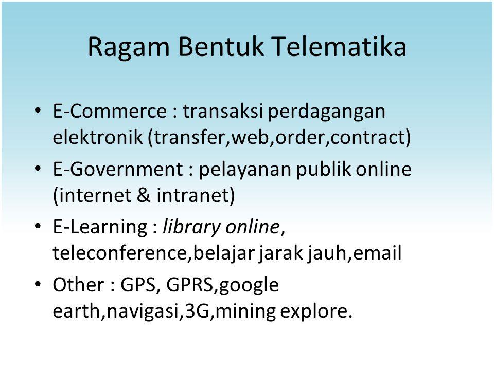 Ragam Bentuk Telematika E-Commerce : transaksi perdagangan elektronik (transfer,web,order,contract) E-Government : pelayanan publik online (internet &