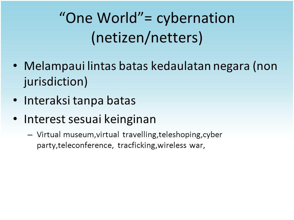 """One World""= cybernation (netizen/netters) Melampaui lintas batas kedaulatan negara (non jurisdiction) Interaksi tanpa batas Interest sesuai keinginan"