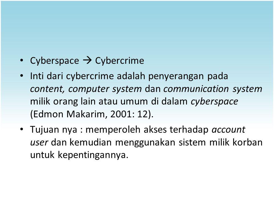 Cyberspace  Cybercrime Inti dari cybercrime adalah penyerangan pada content, computer system dan communication system milik orang lain atau umum di d