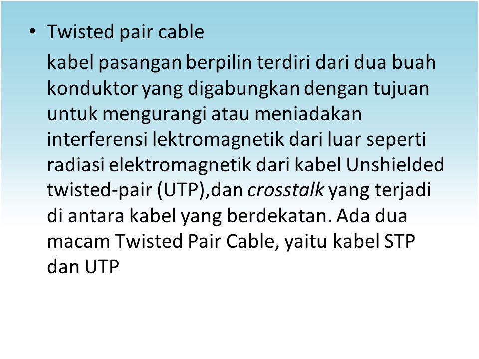 Twisted pair cable kabel pasangan berpilin terdiri dari dua buah konduktor yang digabungkan dengan tujuan untuk mengurangi atau meniadakan interferens