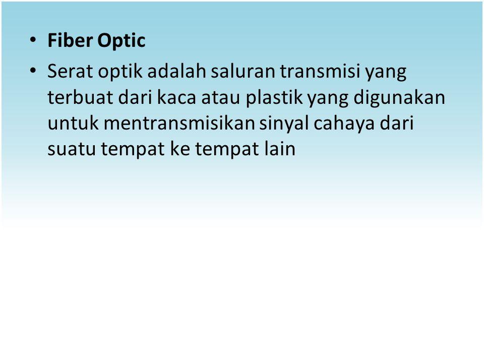 Fiber Optic Serat optik adalah saluran transmisi yang terbuat dari kaca atau plastik yang digunakan untuk mentransmisikan sinyal cahaya dari suatu tem