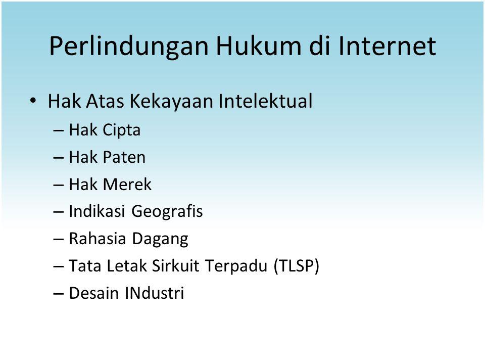 Perlindungan Hukum di Internet Hak Atas Kekayaan Intelektual – Hak Cipta – Hak Paten – Hak Merek – Indikasi Geografis – Rahasia Dagang – Tata Letak Si