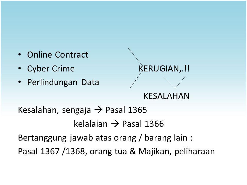 Online Contract Cyber Crime KERUGIAN,.!! Perlindungan Data KESALAHAN Kesalahan, sengaja  Pasal 1365 kelalaian  Pasal 1366 Bertanggung jawab atas ora