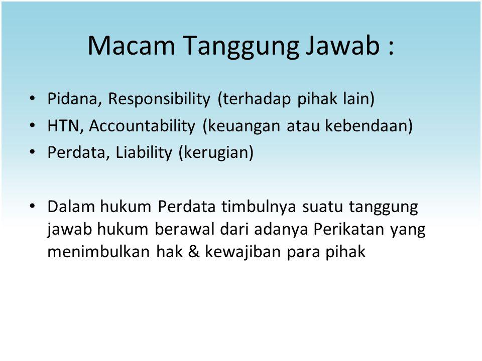 Macam Tanggung Jawab : Pidana, Responsibility (terhadap pihak lain) HTN, Accountability (keuangan atau kebendaan) Perdata, Liability (kerugian) Dalam