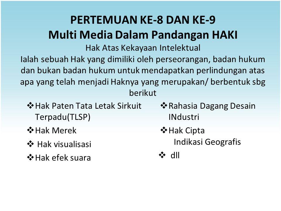 PERTEMUAN KE-8 DAN KE-9 Multi Media Dalam Pandangan HAKI Hak Atas Kekayaan Intelektual Ialah sebuah Hak yang dimiliki oleh perseorangan, badan hukum d