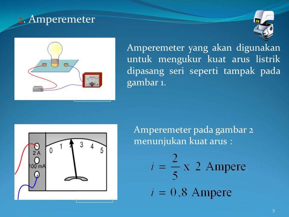3 2. Amperemeter Amperemeter yang akan digunakan untuk mengukur kuat arus listrik dipasang seri seperti tampak pada gambar 1. Gambar 1 Amperemeter pad