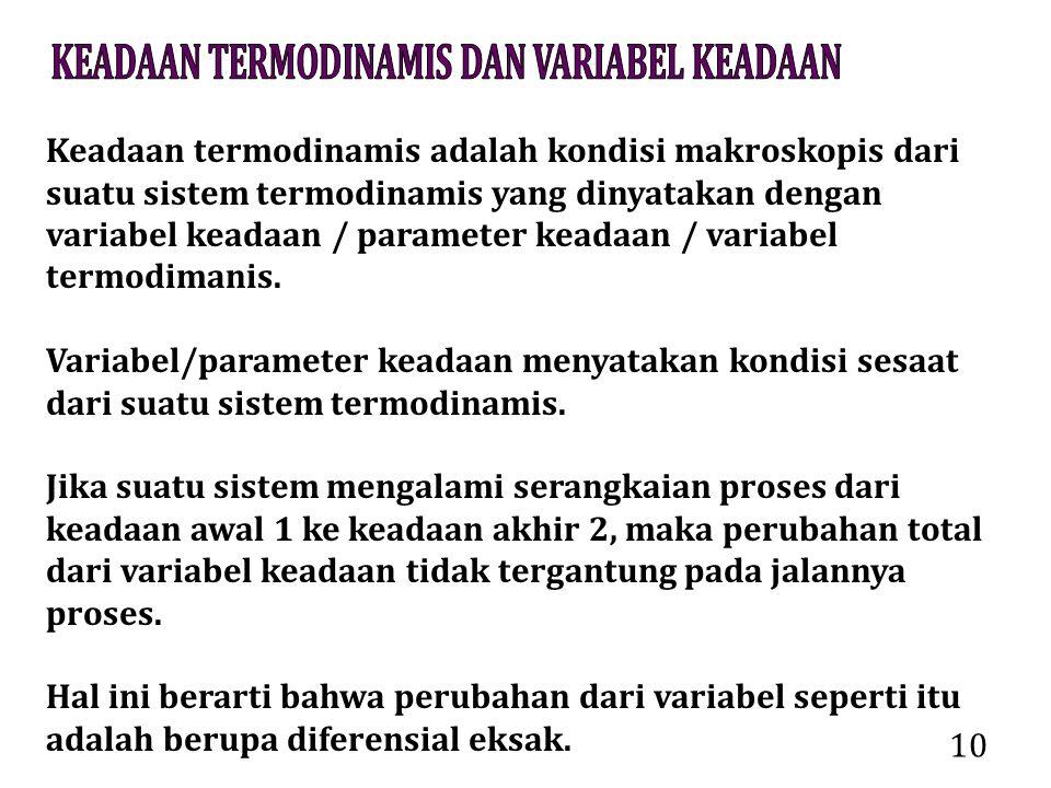 10 Keadaan termodinamis adalah kondisi makroskopis dari suatu sistem termodinamis yang dinyatakan dengan variabel keadaan / parameter keadaan / variab