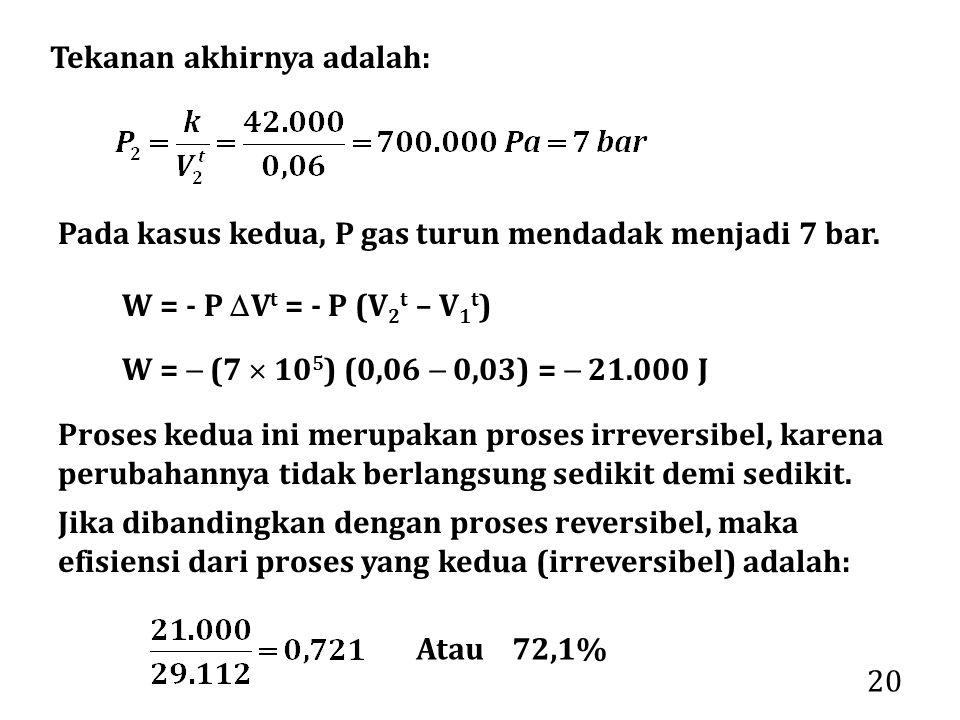 20 Tekanan akhirnya adalah: Pada kasus kedua, P gas turun mendadak menjadi 7 bar. W =  (7  10 5 ) (0,06  0,03) =  21.000 J Proses kedua ini merupa