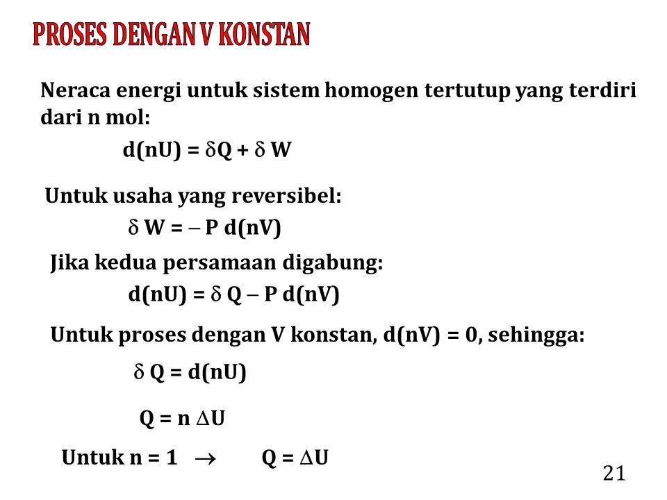 21 Neraca energi untuk sistem homogen tertutup yang terdiri dari n mol: d(nU) =  Q +  W Untuk usaha yang reversibel:  W =  P d(nV) Jika kedua pers