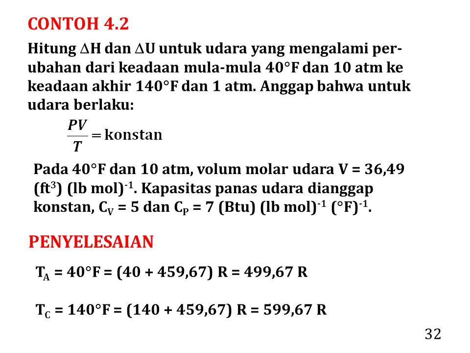 32 CONTOH 4.2 Hitung  H dan  U untuk udara yang mengalami per- ubahan dari keadaan mula-mula 40  F dan 10 atm ke keadaan akhir 140  F dan 1 atm. A