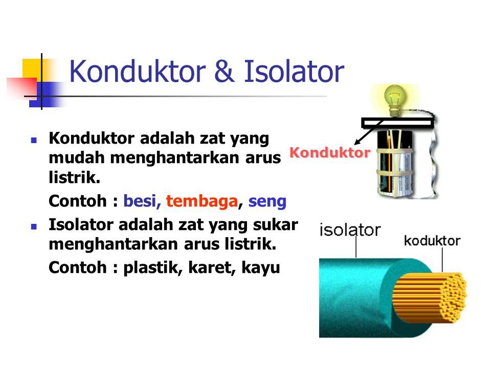 Konduktor & Isolator Konduktor adalah zat yang mudah menghantarkan arus listrik. Contoh : besi, tembaga, seng Isolator adalah zat yang sukar menghanta