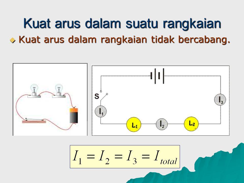 Kuat arus dalam suatu rangkaian  Kuat arus dalam rangkaian tidak bercabang.