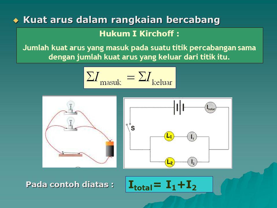  Kuat arus dalam rangkaian bercabang Hukum I Kirchoff : Jumlah kuat arus yang masuk pada suatu titik percabangan sama dengan jumlah kuat arus yang ke