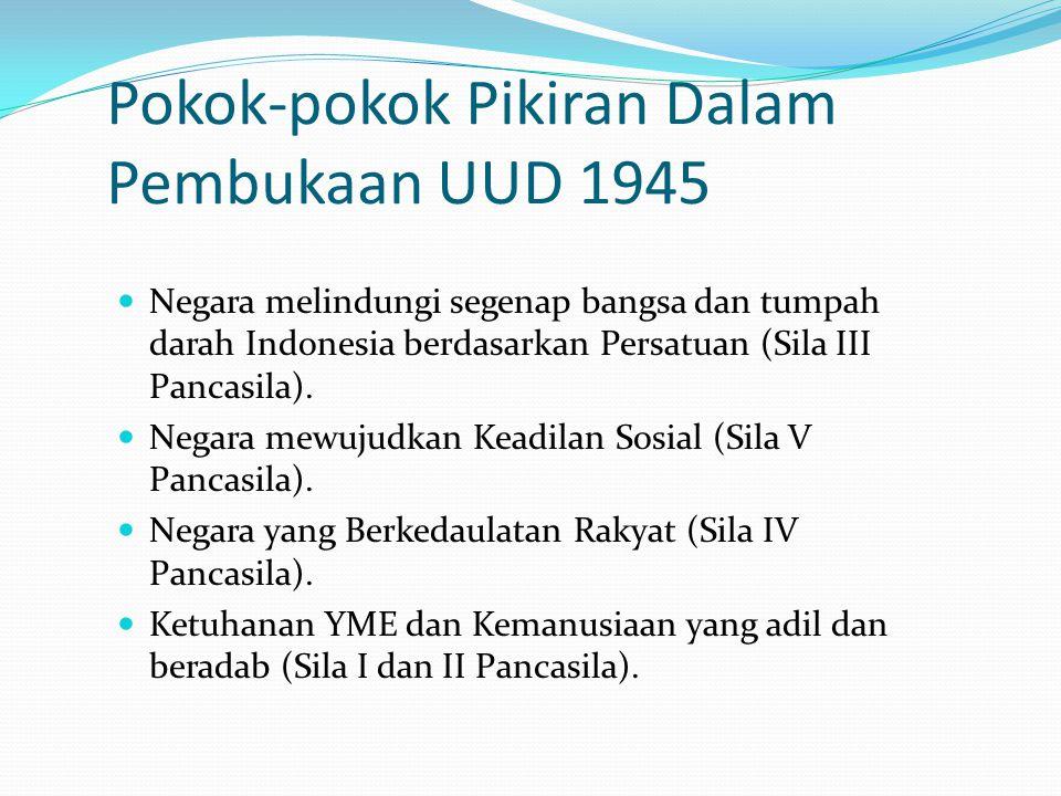 Pokok-pokok Pikiran Dalam Pembukaan UUD 1945 Negara melindungi segenap bangsa dan tumpah darah Indonesia berdasarkan Persatuan (Sila III Pancasila). N