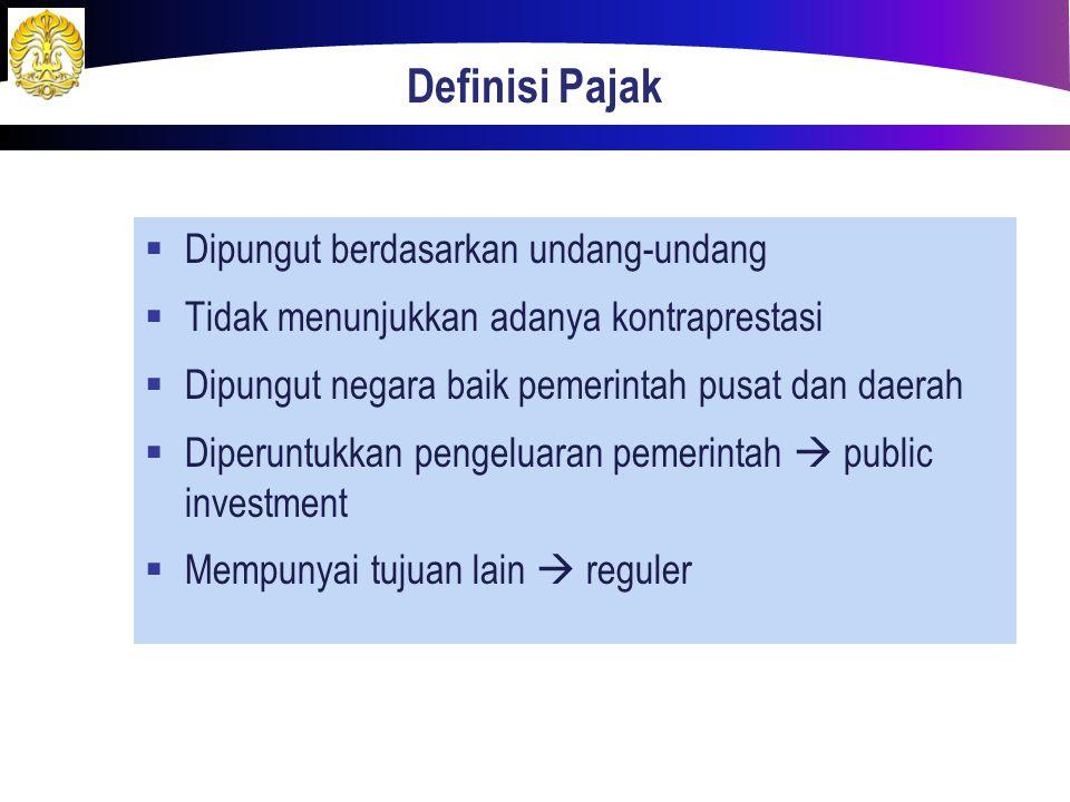 PENGERTIAN PAJAK Prof.Dr.P.J.A.Adriani Iuran kepada negara (dapat dipaksakan) yang terutang oleh yang wajib membayarnya menurut peraturan dengan tidak