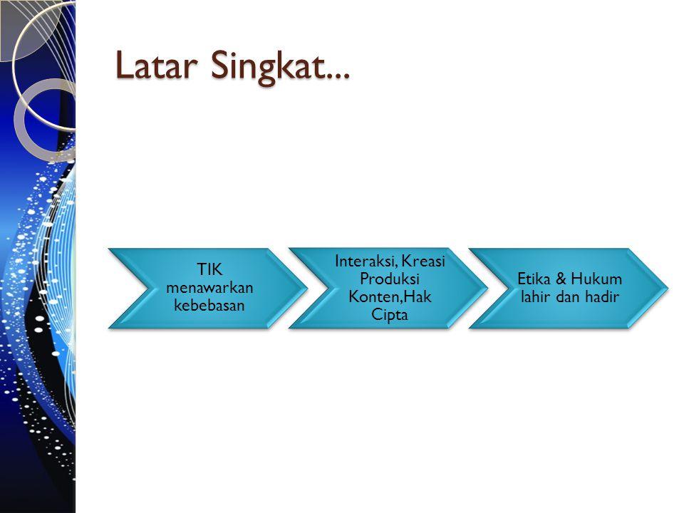 Latar Singkat... TIK menawarkan kebebasan Interaksi, Kreasi Produksi Konten,Hak Cipta Etika & Hukum lahir dan hadir