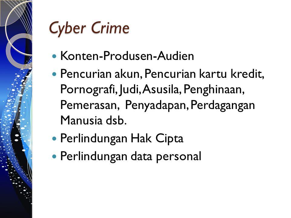 Cyber Crime Konten-Produsen-Audien Pencurian akun, Pencurian kartu kredit, Pornografi, Judi, Asusila, Penghinaan, Pemerasan, Penyadapan, Perdagangan M