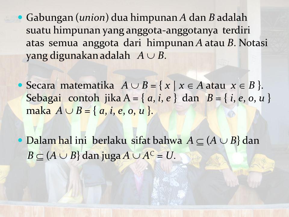 Gabungan (union) dua himpunan A dan B adalah suatu himpunan yang anggota-anggotanya terdiri atas semua anggota dari himpunan A atau B. Notasi yang dig