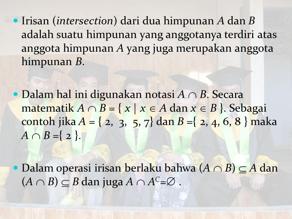 Irisan (intersection) dari dua himpunan A dan B adalah suatu himpunan yang anggotanya terdiri atas anggota himpunan A yang juga merupakan anggota himp