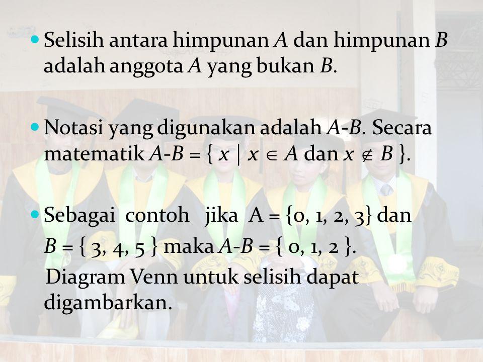 Selisih antara himpunan A dan himpunan B adalah anggota A yang bukan B. Notasi yang digunakan adalah A-B. Secara matematik A-B = { x | x  A dan x  B