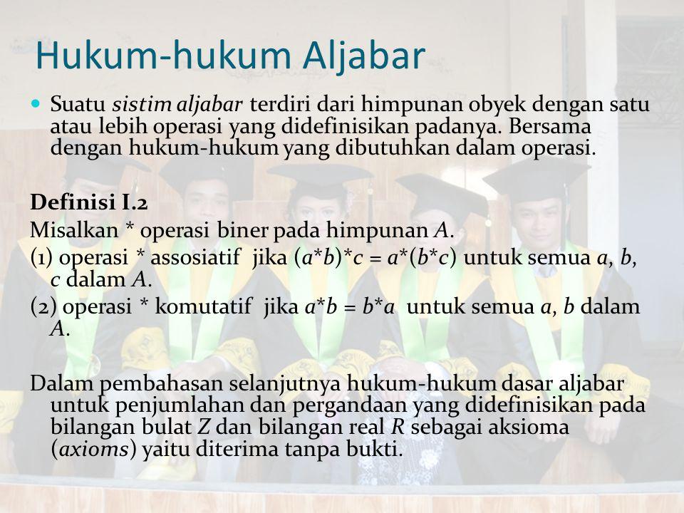 Hukum-hukum Aljabar Suatu sistim aljabar terdiri dari himpunan obyek dengan satu atau lebih operasi yang didefinisikan padanya. Bersama dengan hukum-h