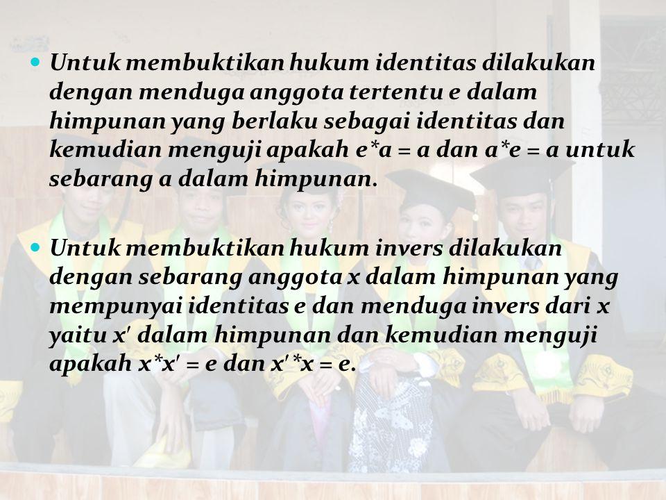 Untuk membuktikan hukum identitas dilakukan dengan menduga anggota tertentu e dalam himpunan yang berlaku sebagai identitas dan kemudian menguji apaka