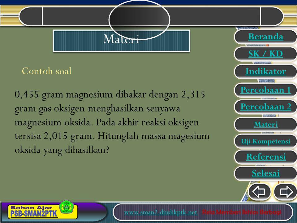 Contoh soal 0,455 gram magnesium dibakar dengan 2,315 gram gas oksigen menghasilkan senyawa magnesium oksida.