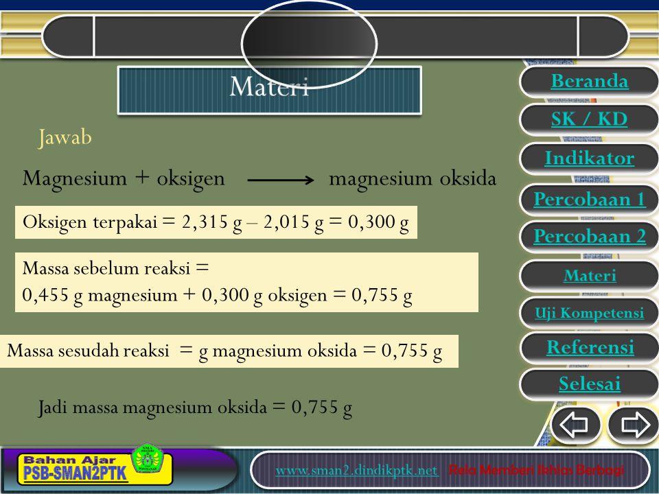 Jawab Massa sebelum reaksi = 0,455 g magnesium + 0,300 g oksigen = 0,755 g Magnesium + oksigen magnesium oksida Massa sesudah reaksi = g magnesium oksida = 0,755 g Oksigen terpakai = 2,315 g – 2,015 g = 0,300 g Jadi massa magnesium oksida = 0,755 g Beranda SK / KD Indikator Percobaan 1 Percobaan 2 Materi Uji Kompetensi Selesai Referensi