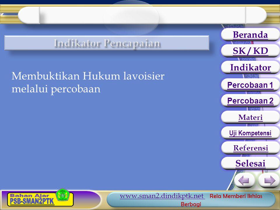 www.sman2.dindikptk.net www.sman2.dindikptk.net Rela Memberi Ikhlas Berbagi Membuktikan Hukum lavoisier melalui percobaan Beranda SK / KD Indikator Percobaan 1 Percobaan 2 Materi Uji Kompetensi Selesai Referensi