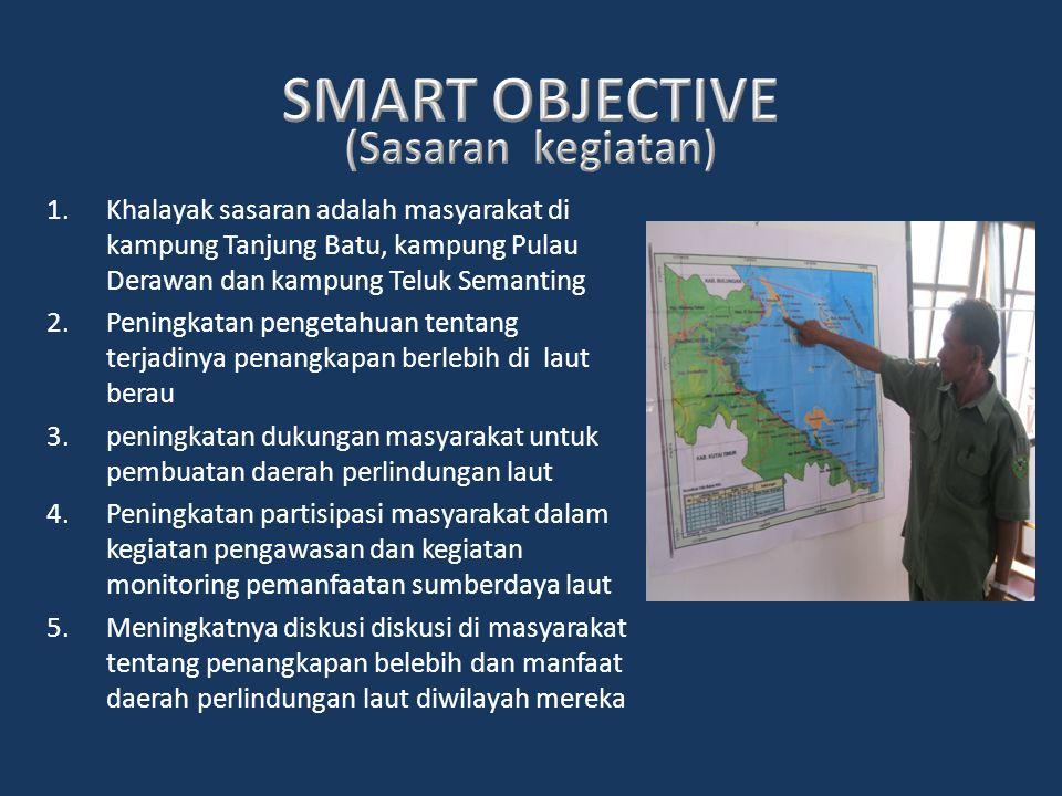 1.Khalayak sasaran adalah masyarakat di kampung Tanjung Batu, kampung Pulau Derawan dan kampung Teluk Semanting 2.Peningkatan pengetahuan tentang terj