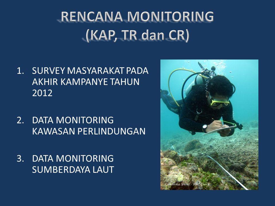 1.SURVEY MASYARAKAT PADA AKHIR KAMPANYE TAHUN 2012 2.DATA MONITORING KAWASAN PERLINDUNGAN 3.DATA MONITORING SUMBERDAYA LAUT