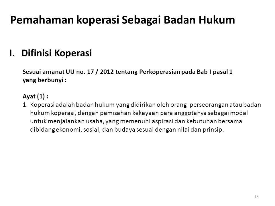 Pemahaman koperasi Sebagai Badan Hukum I.Difinisi Koperasi Sesuai amanat UU no. 17 / 2012 tentang Perkoperasian pada Bab I pasal 1 yang berbunyi : Aya