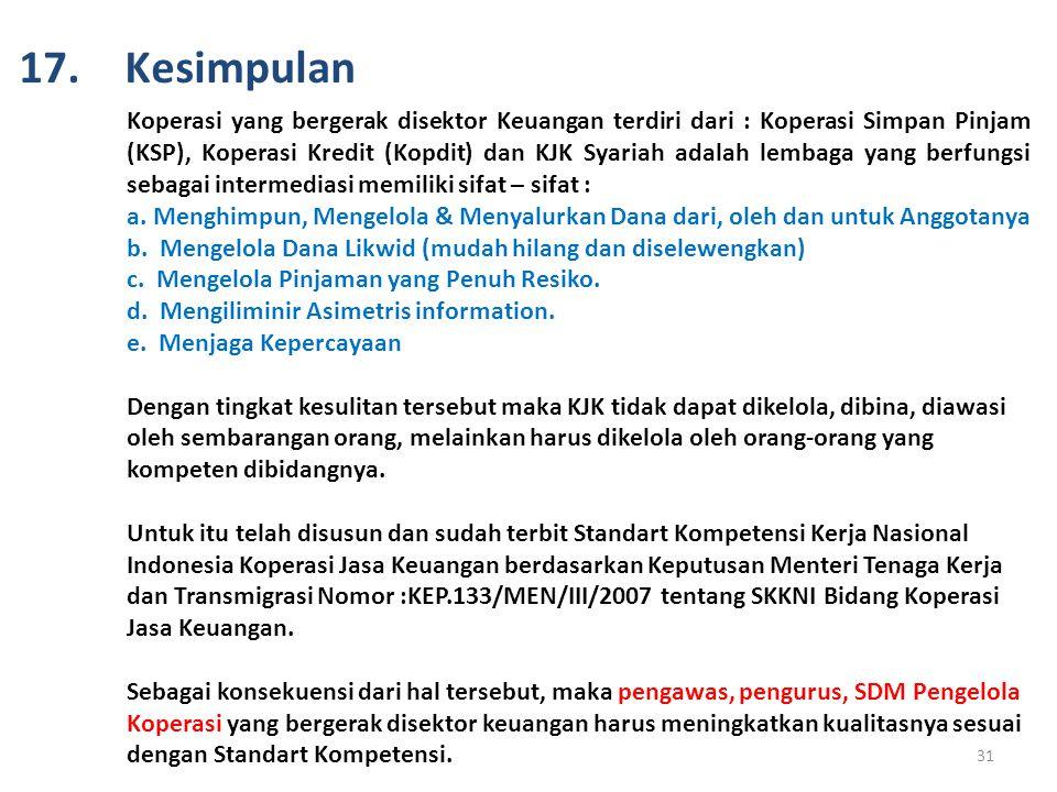 Koperasi yang bergerak disektor Keuangan terdiri dari : Koperasi Simpan Pinjam (KSP), Koperasi Kredit (Kopdit) dan KJK Syariah adalah lembaga yang ber