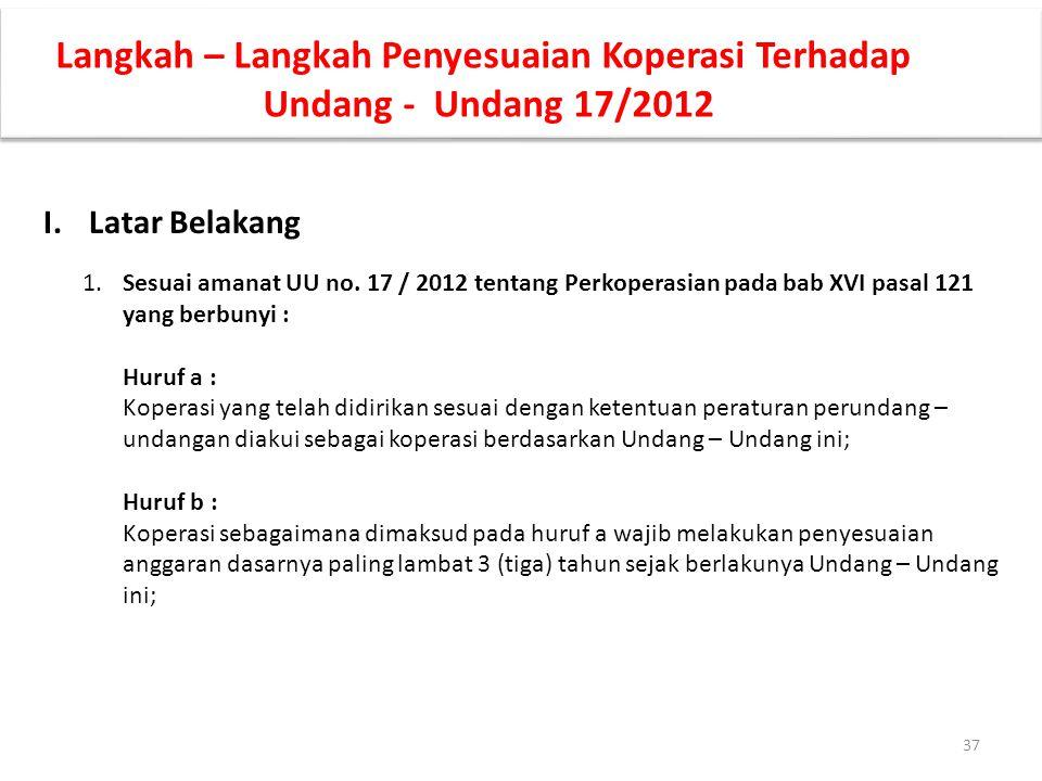 Langkah – Langkah Penyesuaian Koperasi Terhadap Undang - Undang 17/2012 I.Latar Belakang 1.Sesuai amanat UU no. 17 / 2012 tentang Perkoperasian pada b