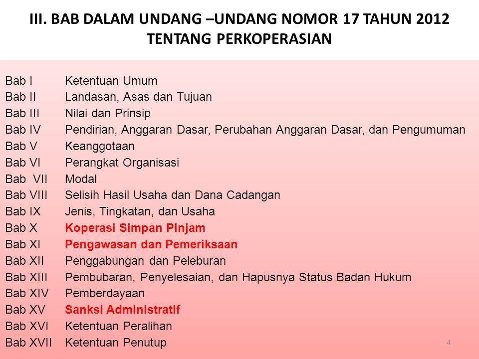 1.Judul RUU tentang Koperasi disepakati berubah menjadi RUU tentang Perkoperasian; 2.Diakomodasikannya Nilai dan Prinsip Koperasi sesuai dengan nilai-nilai luhur Bangsa Indonesia yang tertuang dalam Undang-Undang Dasar Negara Republik Indonesia Tahun 1945 dan hasil kongres International Cooperative Alliance (ICA); (Pasal 5-6) 3.Pendirian Koperasi harus melalui akta autentik; (Pasal 9) yang dibuat oleh Notaris Pejabat Pembuat Akta Koperasi (NPAK), dengan mencantumkan jenis koperasi.