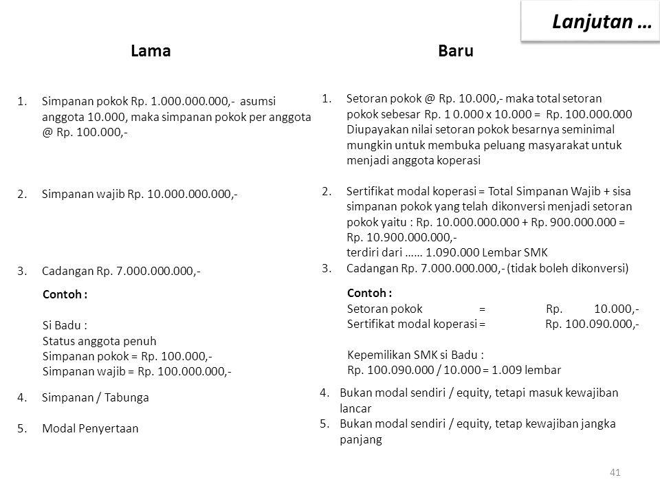 LamaBaru 1.Simpanan pokok Rp. 1.000.000.000,- asumsi anggota 10.000, maka simpanan pokok per anggota @ Rp. 100.000,- 2.Simpanan wajib Rp. 10.000.000.0