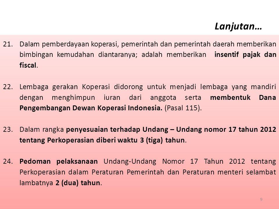 A.Peraturan Pemerintah 1.Ketentuan mengenai tata cara pemakaian nama Koperasi (Pasal 17 ayat (4)) 2.Ketentuan mengenai tata cara pengembangan jenis Koperasi (Pasal 85) 3.Ketentuan mengenai Koperasi berdasarkan prinsip ekonomi syariah (Pasal 87 ayat (4)) 4.Ketentuan mengenai Lembaga Penjamin Simpanan Koperasi Simpan Pinjam (Pasal 94 ayat (5)) 5.Ketentuan mengenai Koperasi Simpan Pinjam (Pasal 95) 6.Ketentuan mengenai persyaratan dan tata cara pembubaran, penyelesaian, dan hapusnya status badan hukum Koperasi (Pasal 111) 7.Ketentuan mengenai peran Pemerintah dan Pemerintah Daerah serta persyaratan dan tata cara pemberian perlindungan kepada Koperasi (Pasal 113 ayat (2)) 8.Ketentuan mengenai jenis, tata cara, dan mekanisme pengenaan sanksi administratif (Pasal 120 ayat (3)) 9.Ketentuan mengenai Modal Koperasi (Pasal 77) 10.Ketentuan mengenai Lembaga Pengawasan Koperasi Simpan Pinjam (Pasal 100 ayat (3)) A.Peraturan Pemerintah 1.Ketentuan mengenai tata cara pemakaian nama Koperasi (Pasal 17 ayat (4)) 2.Ketentuan mengenai tata cara pengembangan jenis Koperasi (Pasal 85) 3.Ketentuan mengenai Koperasi berdasarkan prinsip ekonomi syariah (Pasal 87 ayat (4)) 4.Ketentuan mengenai Lembaga Penjamin Simpanan Koperasi Simpan Pinjam (Pasal 94 ayat (5)) 5.Ketentuan mengenai Koperasi Simpan Pinjam (Pasal 95) 6.Ketentuan mengenai persyaratan dan tata cara pembubaran, penyelesaian, dan hapusnya status badan hukum Koperasi (Pasal 111) 7.Ketentuan mengenai peran Pemerintah dan Pemerintah Daerah serta persyaratan dan tata cara pemberian perlindungan kepada Koperasi (Pasal 113 ayat (2)) 8.Ketentuan mengenai jenis, tata cara, dan mekanisme pengenaan sanksi administratif (Pasal 120 ayat (3)) 9.Ketentuan mengenai Modal Koperasi (Pasal 77) 10.Ketentuan mengenai Lembaga Pengawasan Koperasi Simpan Pinjam (Pasal 100 ayat (3)) V.