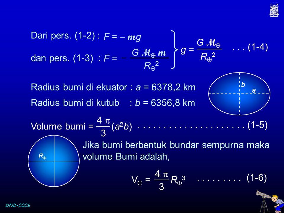 DND-2006 Dari pers. (1-2) : R2R2 G M  g = dan pers. (1-3) : F =  m g G M  m F =  R2R2... (1-4) Radius bumi di ekuator : a = 6378,2 km Radius b