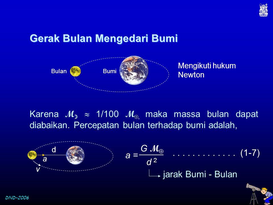 DND-2006 Gerak Bulan Mengedari Bumi Gerak Bulan Mengedari Bumi Mengikuti hukum Newton BumiBulan Karena M   1/100 M , maka massa bulan dapat diabaik