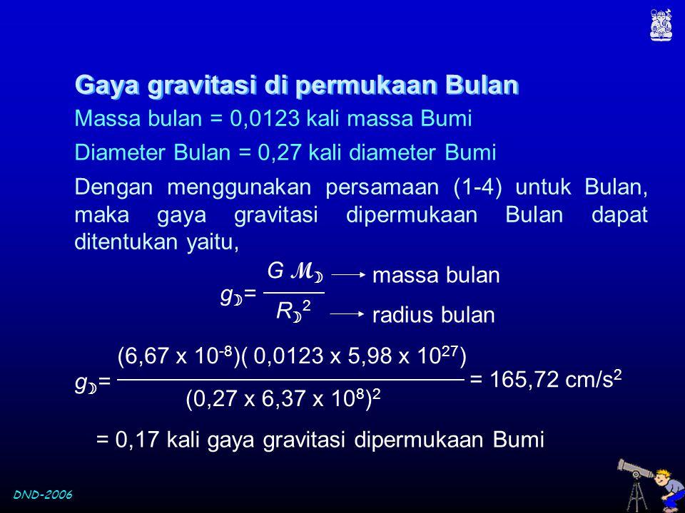 DND-2006 Massa bulan = 0,0123 kali massa Bumi Dengan menggunakan persamaan (1-4) untuk Bulan, maka gaya gravitasi dipermukaan Bulan dapat ditentukan y