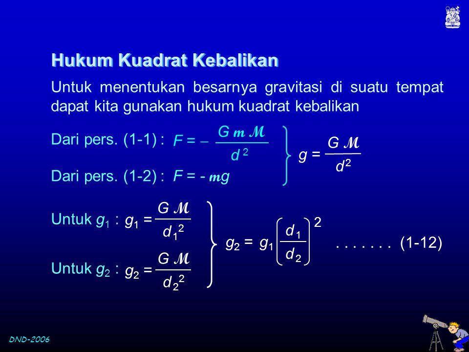 DND-2006 Hukum Kuadrat Kebalikan Untuk menentukan besarnya gravitasi di suatu tempat dapat kita gunakan hukum kuadrat kebalikan F = - m g Dari pers. (