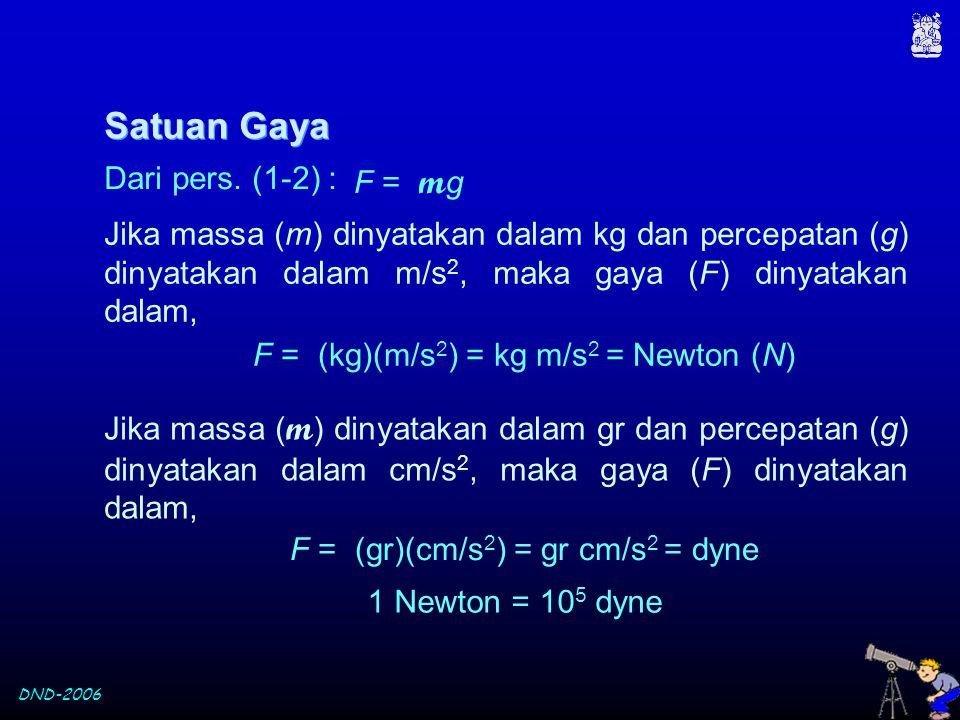DND-2006 Satuan Gaya F = m g Jika massa (m) dinyatakan dalam kg dan percepatan (g) dinyatakan dalam m/s 2, maka gaya (F) dinyatakan dalam, F = (kg)(m/