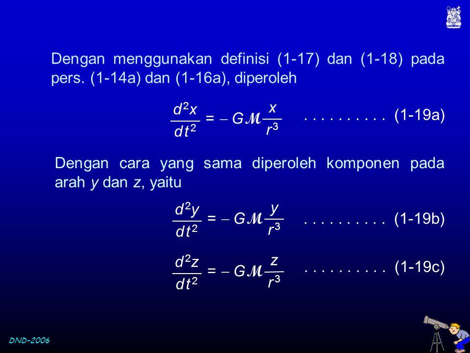 DND-2006 Dengan menggunakan definisi (1-17) dan (1-18) pada pers. (1-14a) dan (1-16a), diperoleh.......... (1-19a) Dengan cara yang sama diperoleh kom
