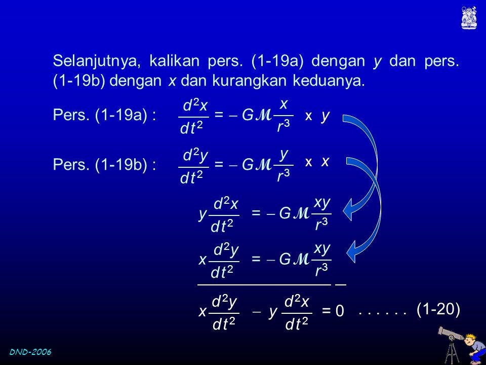 DND-2006 x  y = 0 d 2yd 2y d t 2d t 2 d 2xd 2x d t 2d t 2 d 2yd 2y x =  G M d t 2d t 2 xy r 3r 3 Selanjutnya, kalikan pers. (1-19a) dengan y dan per