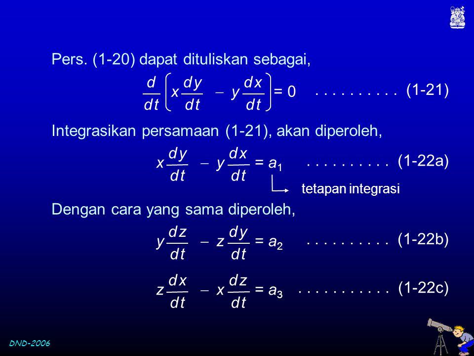 DND-2006 Pers. (1-20) dapat dituliskan sebagai, x  y = 0 d yd y d td t d xd x d td t d d td t.......... (1-21) Integrasikan persamaan (1-21), akan di