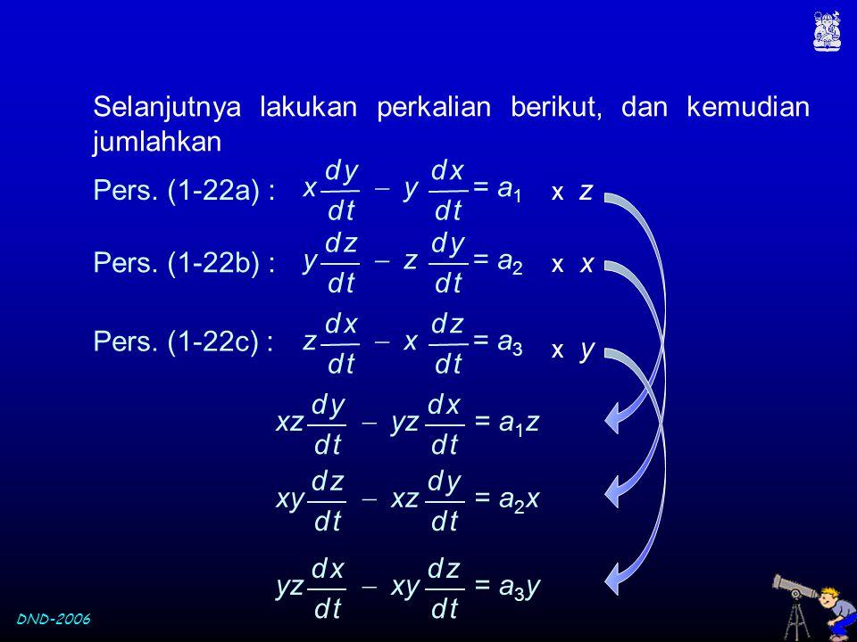 DND-2006 Pers. (1-22a) : x z x  y = a 1 d yd y d td t d xd x d td t Pers. (1-22b) : x y  z = a 2 d zd z d td t d yd y d td t Pers. (1-22c) : x y z 
